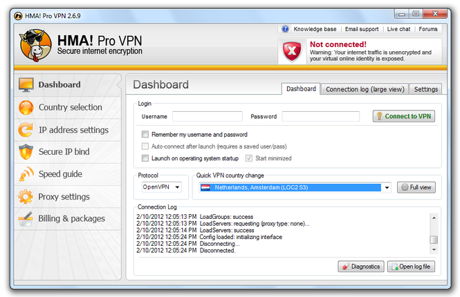 HMA! Pro VPN screenshot 1