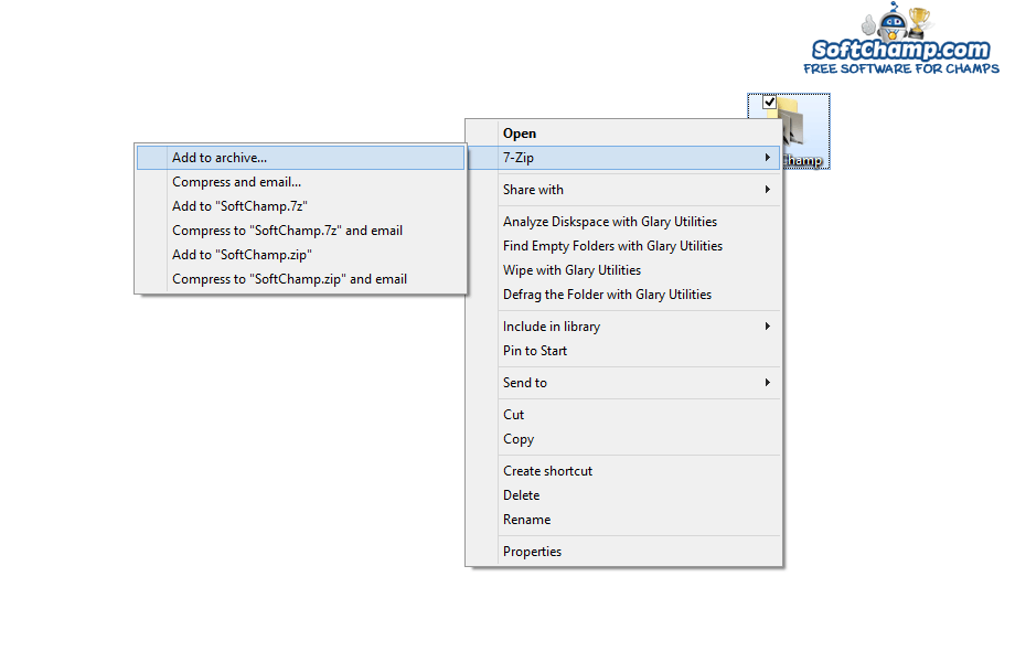 7Zip Context Menu Add to archive