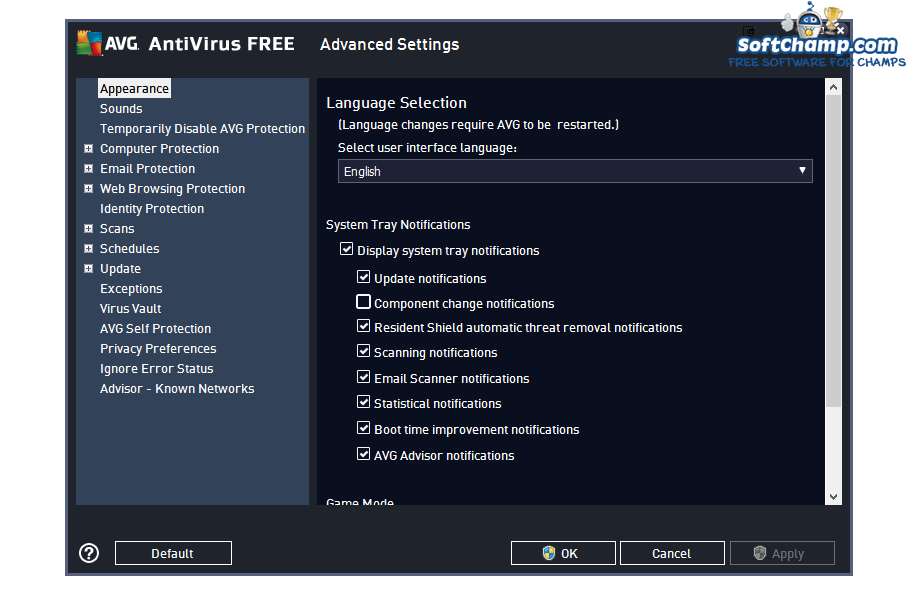AVG Antivirus FREEAdvanced Settings