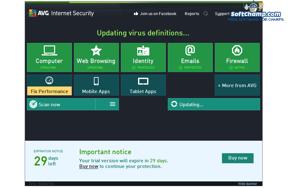 AVG Internet Security Update virus definitions
