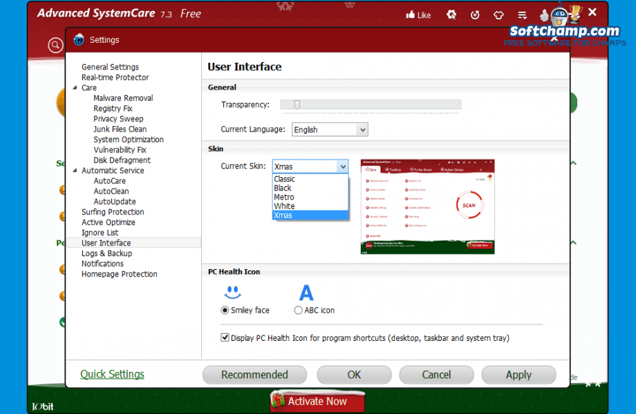 Advanced SystemCare Settings User Interface