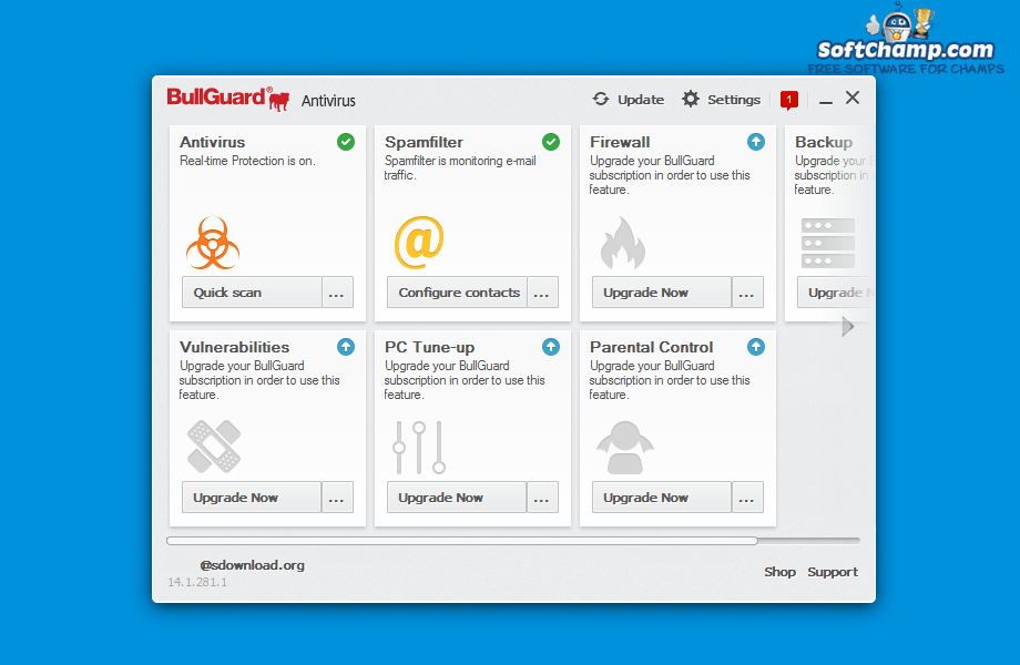 BullGuard Antivirus Home Screen