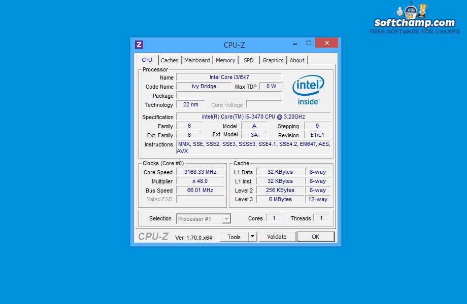 CPU Z Processor Information