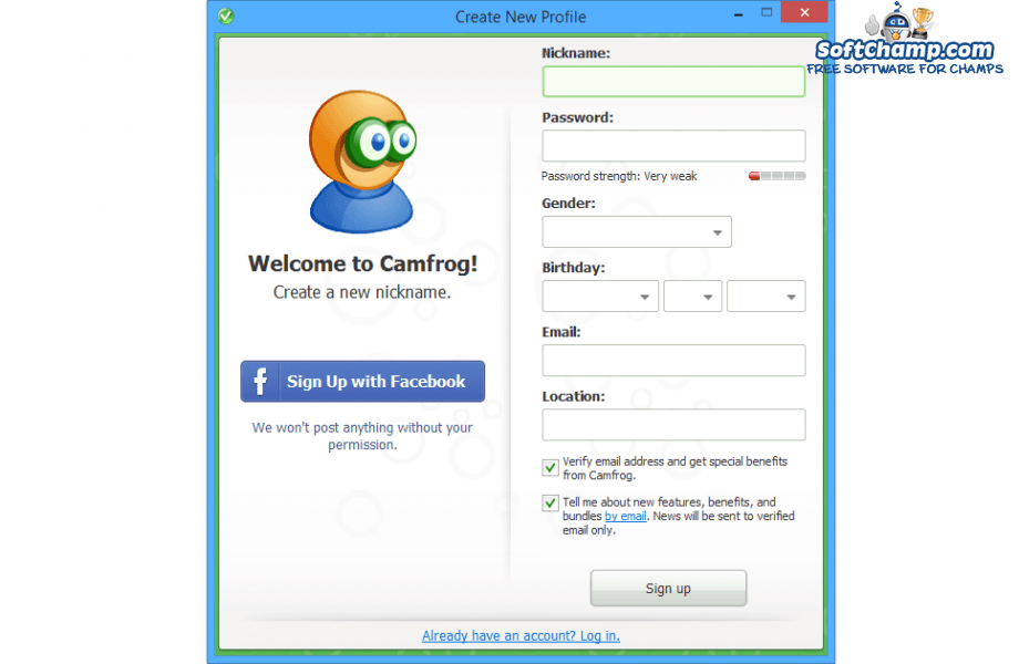 Camfrog Video Chat Create New Profile