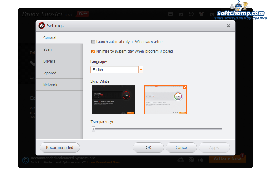 Driver Booster Interface Settings