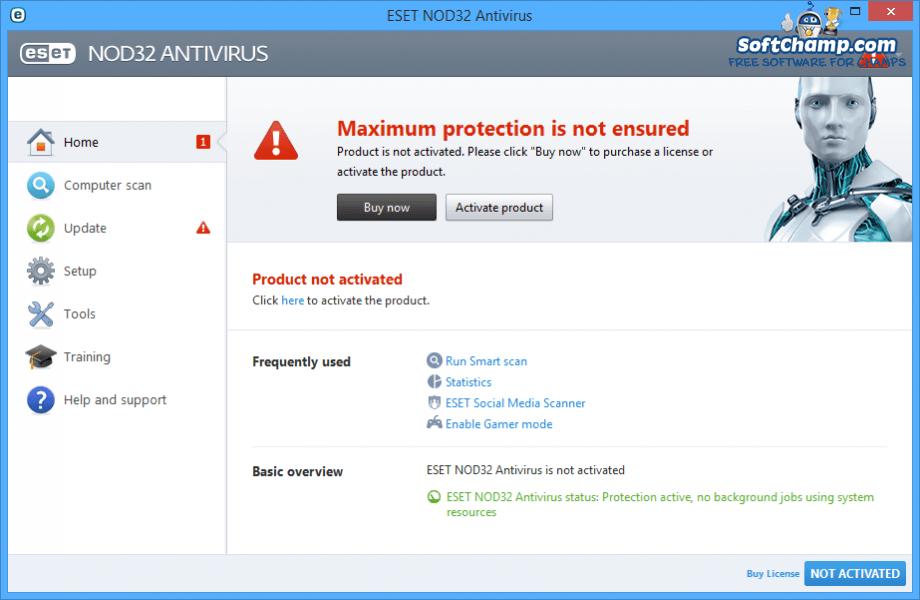 ESET NOD32 Antivirus System security status