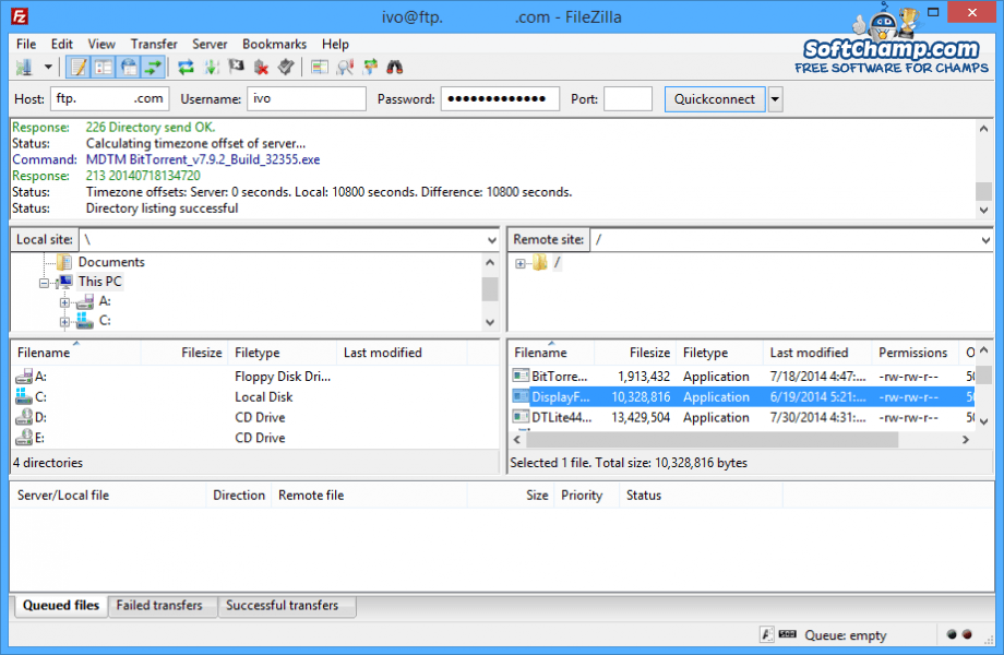FileZilla FTP connected