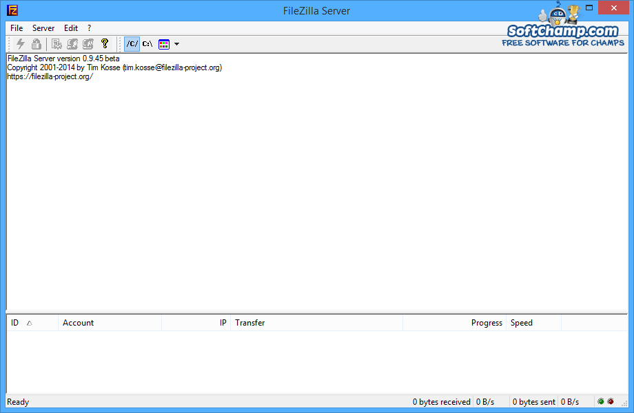 FileZilla Server Main window