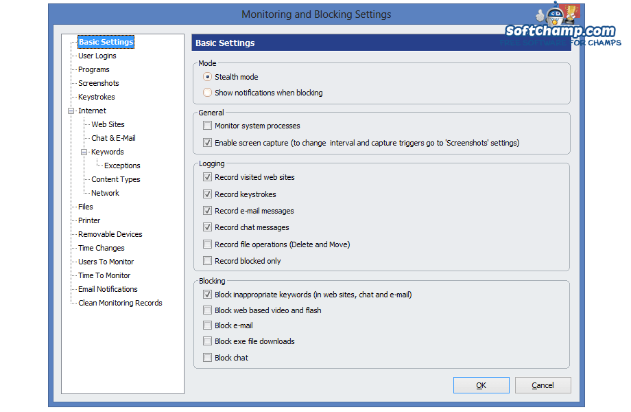 HomeGuard Monitoring and Blocking Settings