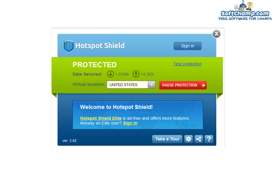 Hotspot Shield Status Protected