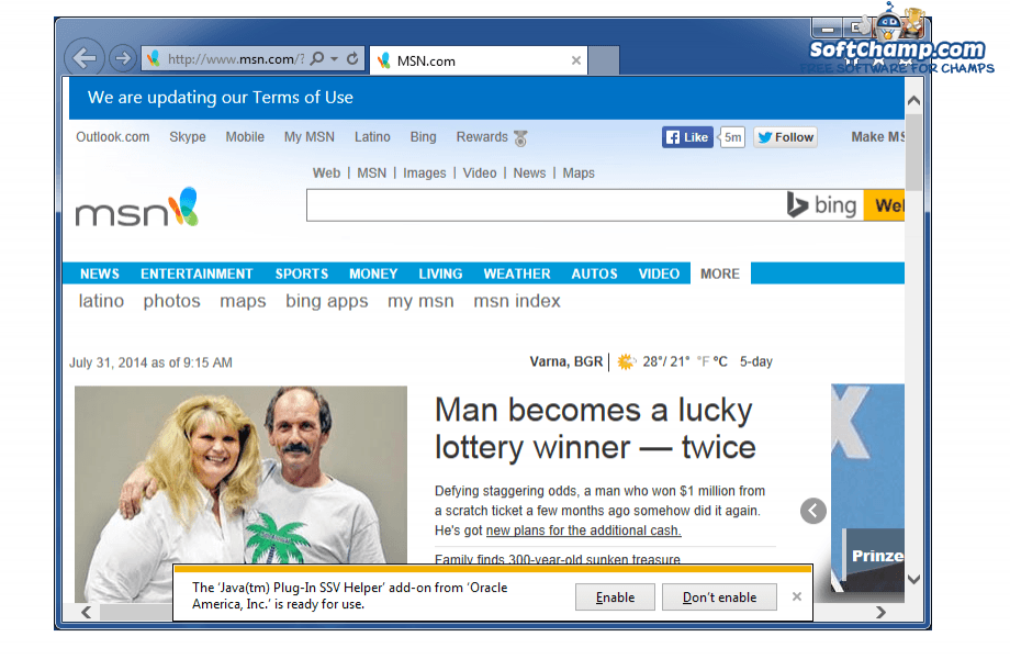 Internet Explorer Web page preview