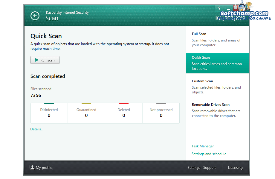 Kaspersky Internet Security Quick Scan