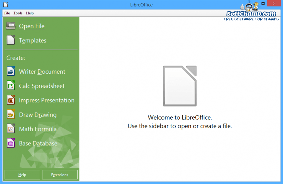 LibreOffice Create new file