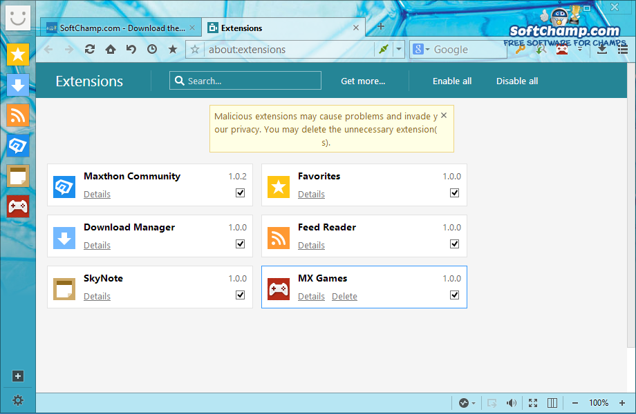 Maxthon Cloud Browser Extension Manager