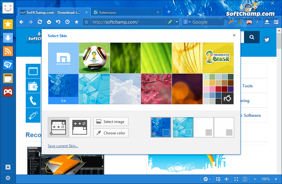 Maxthon Cloud Browser Select Skin