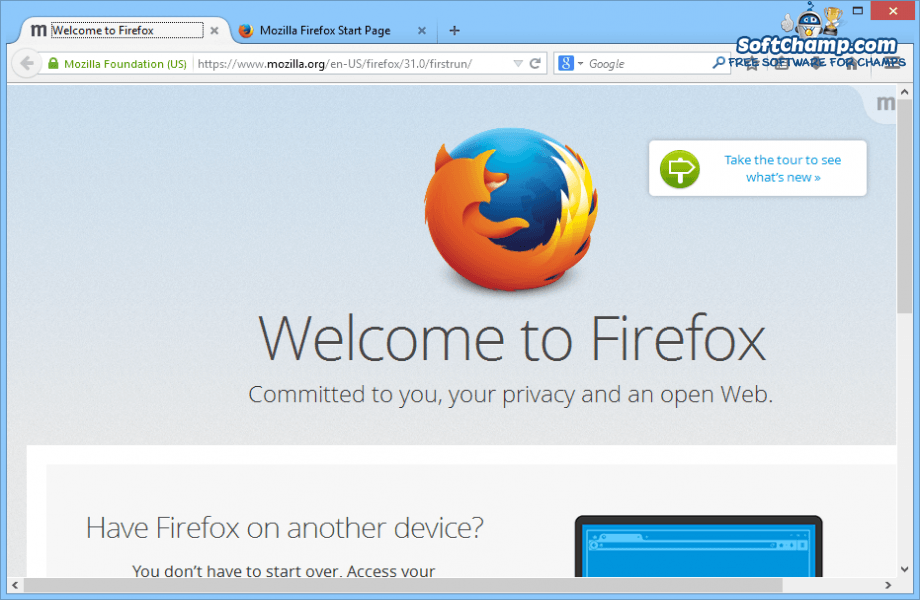 Mozilla Firefox Welcome to Firefox
