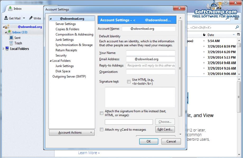 Mozilla Thunderbird Account Settings