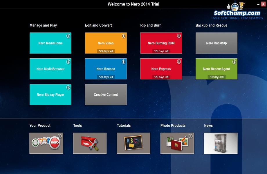 Nero Platinum Welcome screen