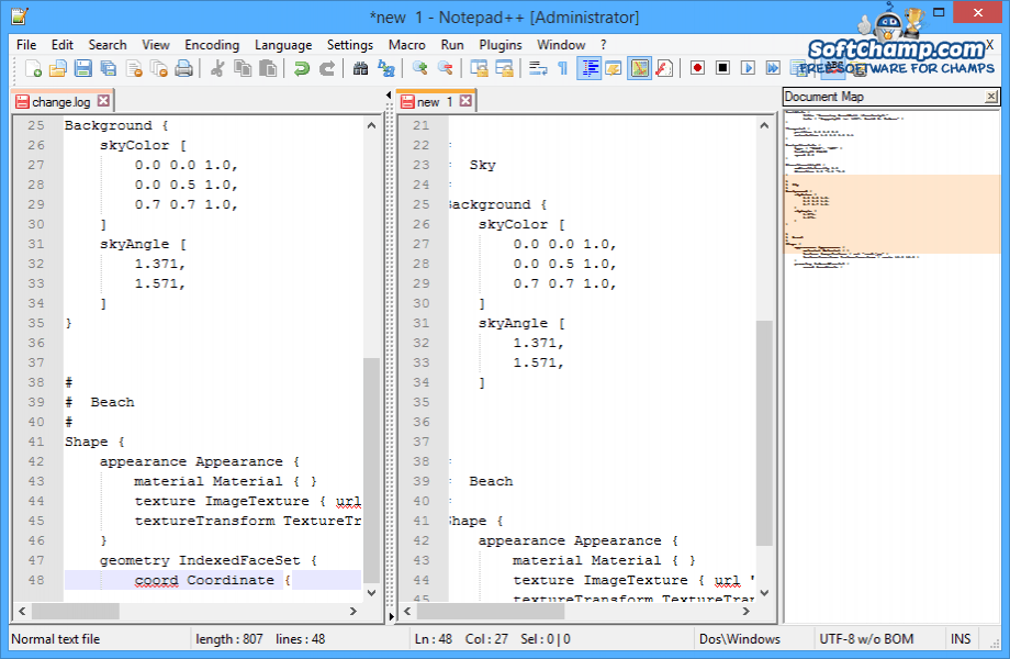 Notepad++ Document Map