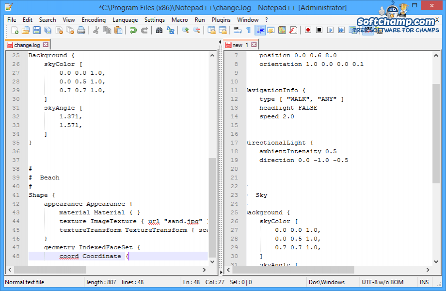 Notepad++ Side By Side Comparison