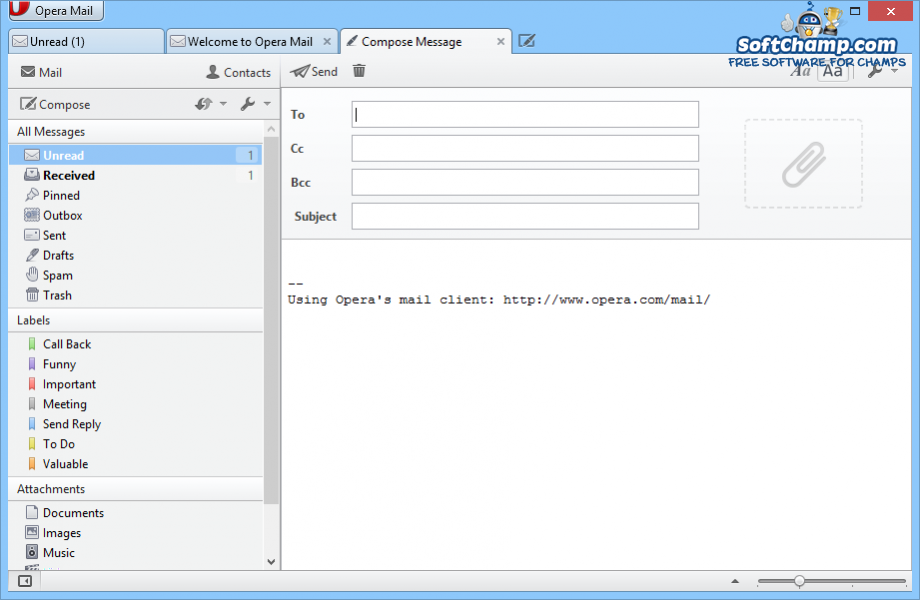 Opera Mail Compose Message