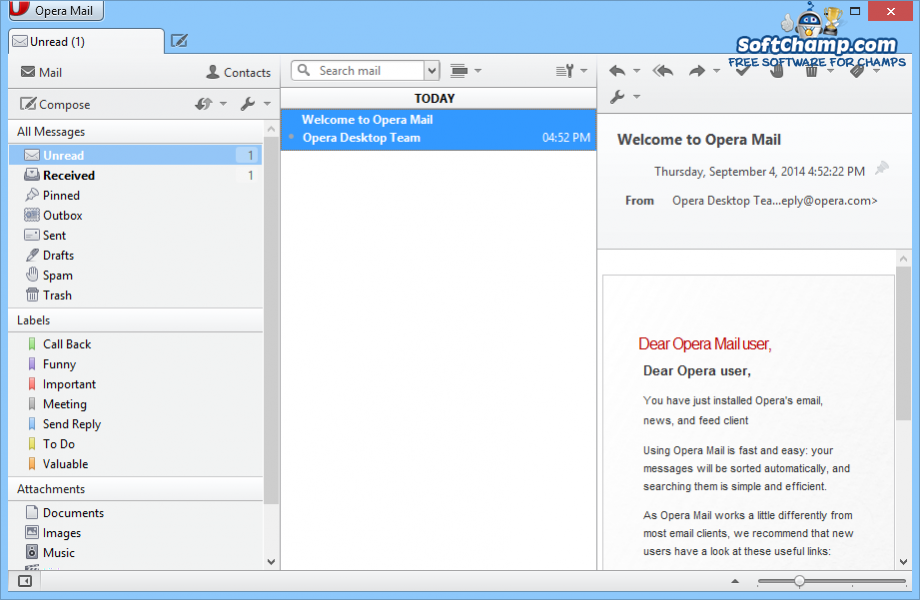 Opera Mail Message