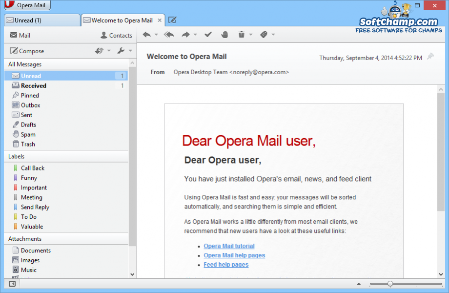 Opera Mail Preview Email