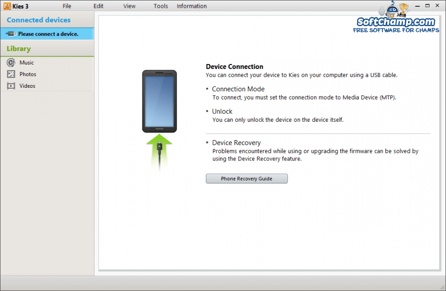 Samsung Kies 3 Device Connection