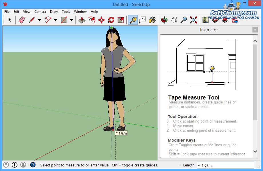 SketchUp Make Tape Measurement Tool
