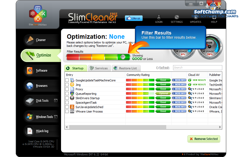 SlimCleaner Free Optimize your PC