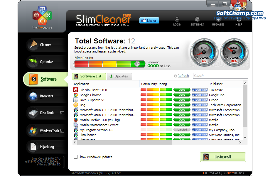 SlimCleaner Free Uninstall Software
