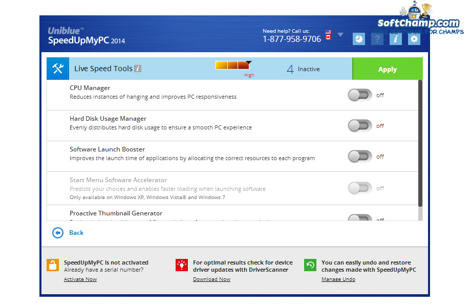 SpeedUpMyPC Live Speed Tools