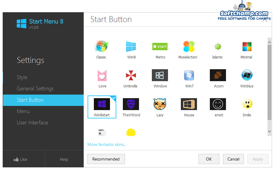 Start Menu 8 Choose Start button icon