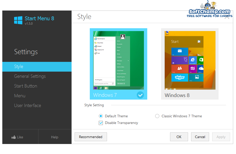 Start Menu 8 Choose Style