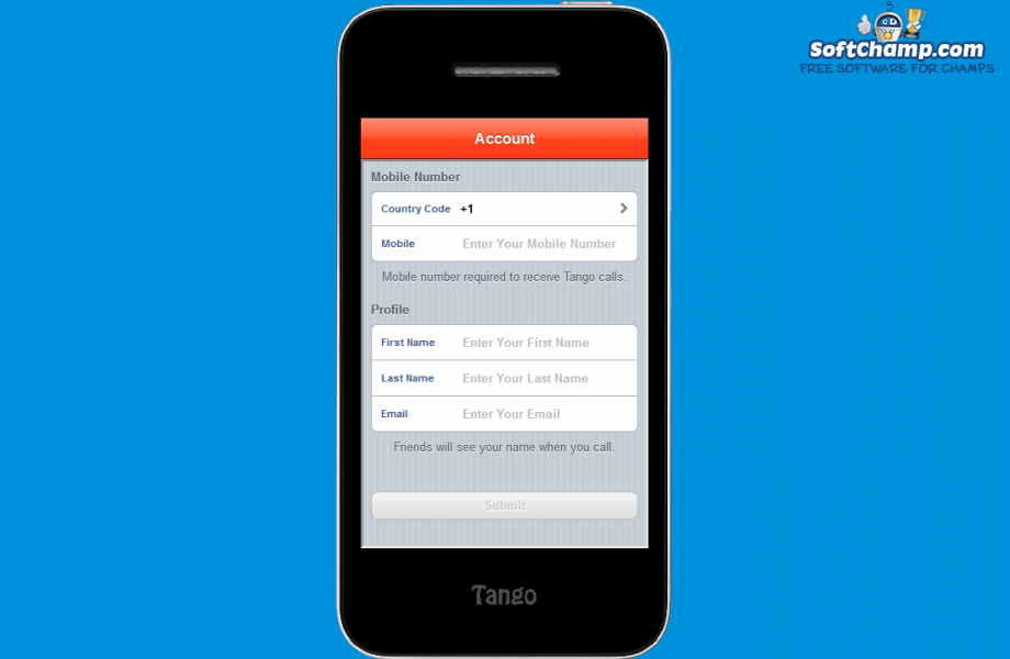 Tango Create an Account