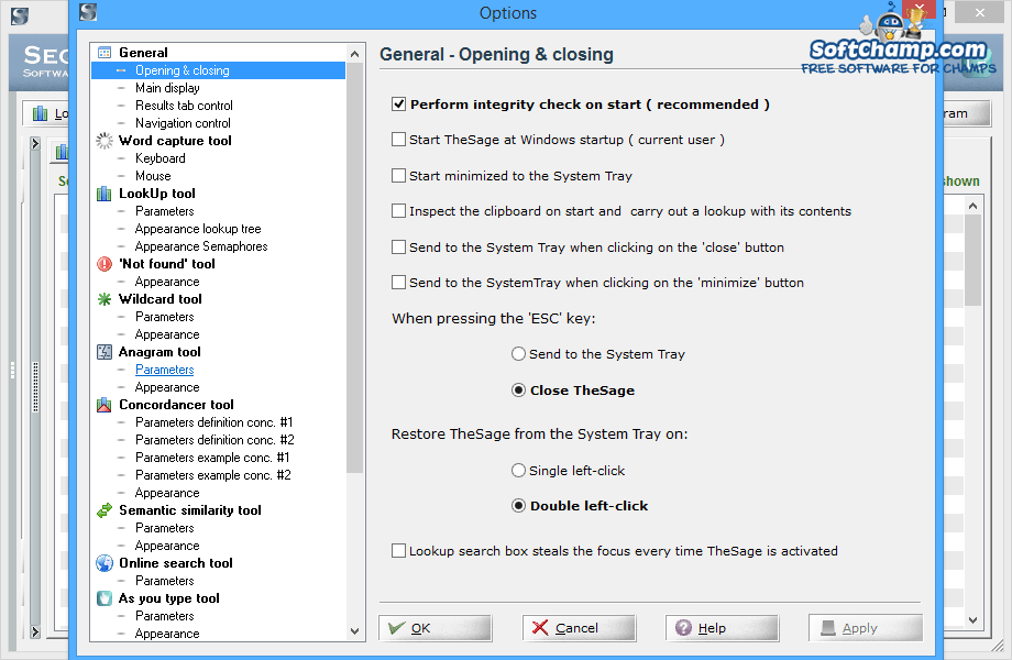 TheSage English Dictionary and Thesaurus Options