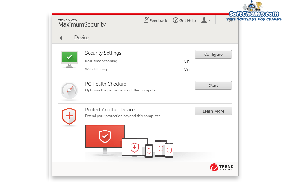 Trend Micro Maximum Security Device Security Settings