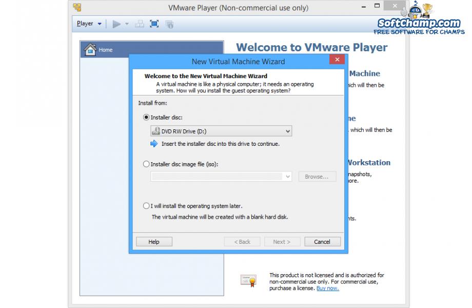 VMware Player New Virtual Machine Wizard