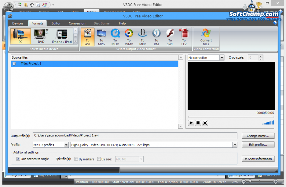 VSDC Free Video Editor Export Project