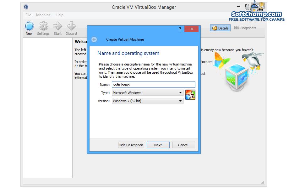 VirtualBox Create Virtual Machine
