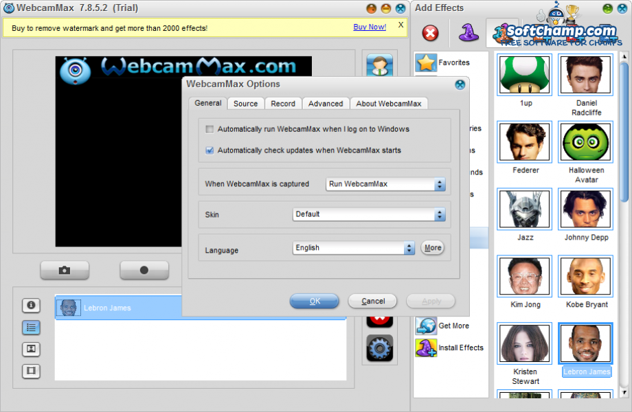 WebcamMax Options