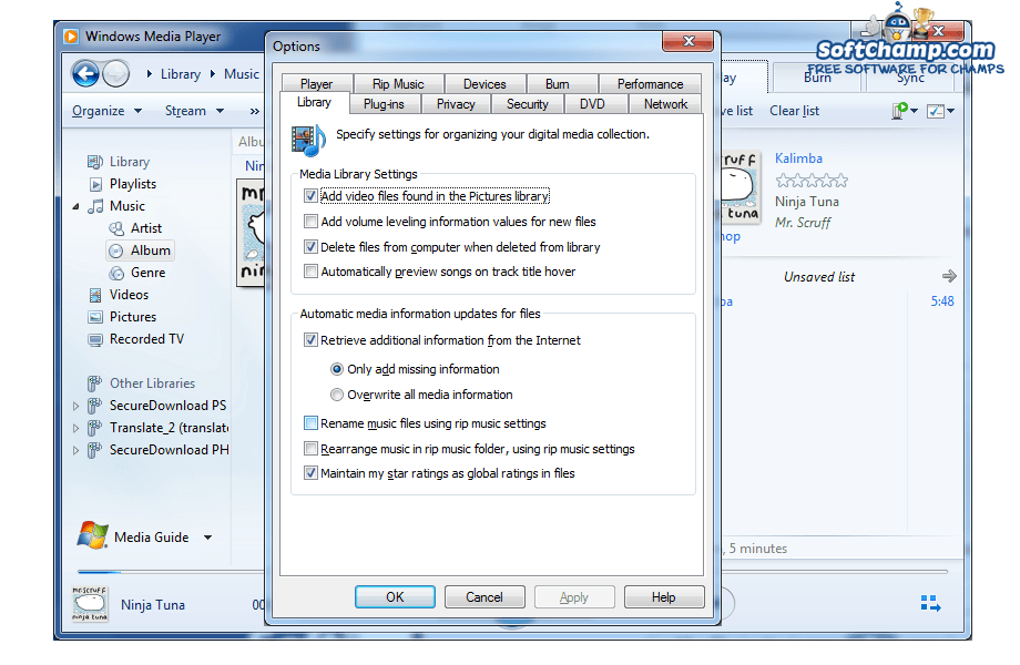 Windows Media Player Options