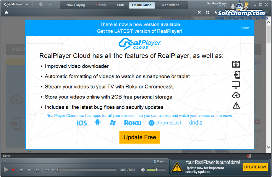 realPlayer Update to realPlayer CLOUD